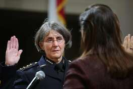 Mayor Libby Schaaf (right) swears in Anne E. Kirkpatrick (left) as Oakland�s permanent Chief of Police at an Oakland City Hall ceremony on Friday, February 27, 2017, in Oakland, Calif.