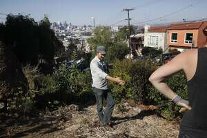 Kevin Bayuk, 36, left, a teacher at the Urban Permaculture Institute of San Francisco, and Dorsey Kilbourn, 28, a former student of Bayuk and current steward of the garden, discuss future plans for the 18th and Rhode Island garden Aug. 27, 2014 in San Francisco, Calif. The garden was started in October 2008 by residents and students from the Urban Permaculture Institute of San Francisco. The garden, which is owned by a private landowner and grows an assortment of fruits and vegetables, is kept up by volunteers.