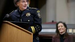 Anne E. Kirkpatrick (left) talks after being sworn in as Oakland�s permanent Chief of Police at an Oakland City Hall ceremony on Friday, February 27, 2017, in Oakland, Calif.