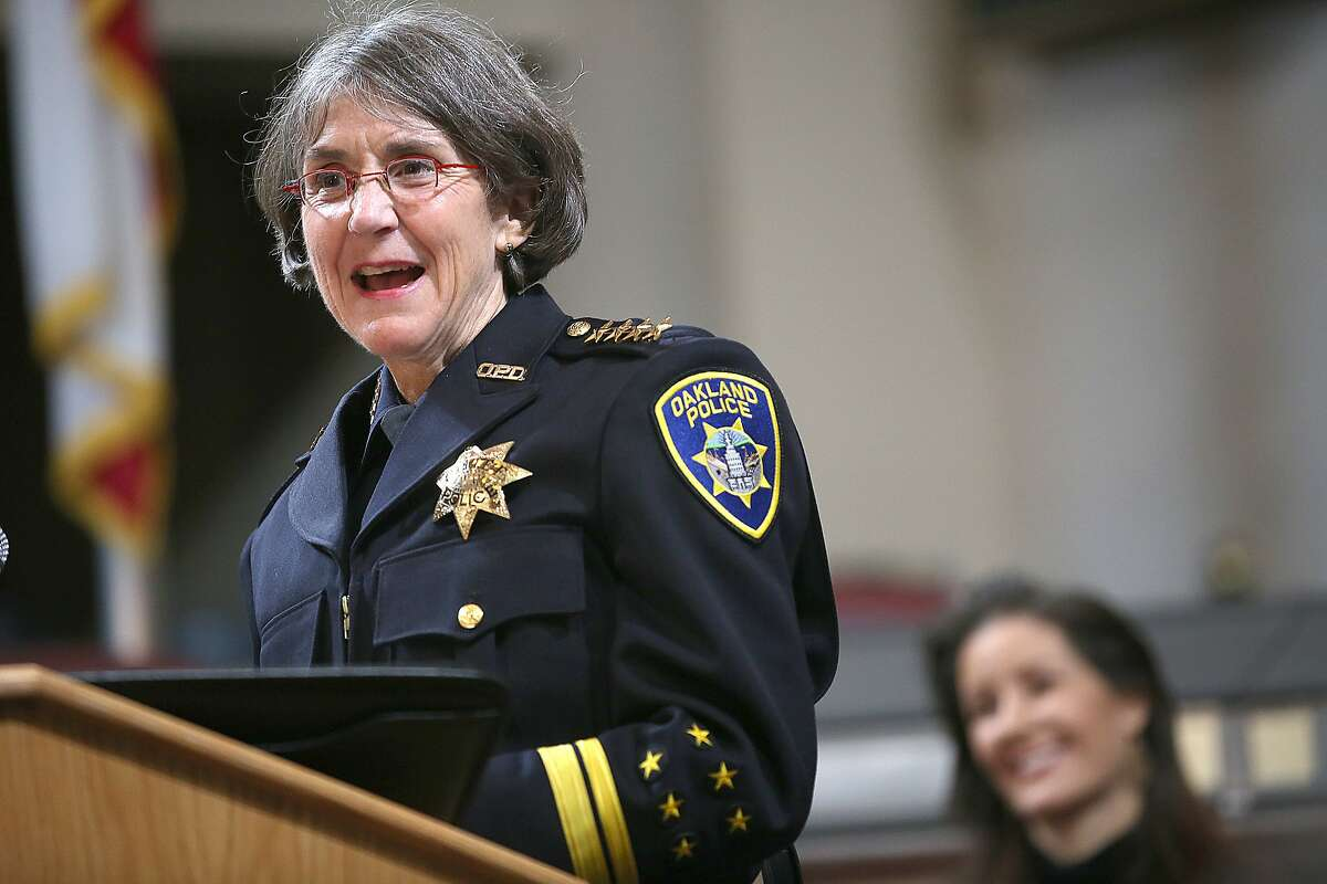 Anne E. Kirkpatrick (left) talks after being sworn in as Oakland?•s permanent Chief of Police at an Oakland City Hall ceremony on Friday, February 27, 2017, in Oakland, Calif.
