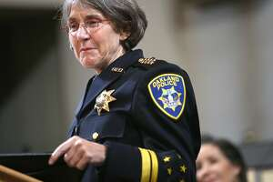 Anne E. Kirkpatrick (left) talks after being sworn in as OaklandÕs permanent Chief of Police at an Oakland City Hall ceremony on Friday, February 27, 2017, in Oakland, Calif.