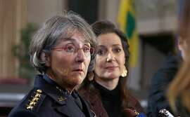 Mayor Libby Schaaf (right) and Anne E. Kirkpatrick (left) talk with press after she was sworn in as OaklandÕs permanent Chief of Police at an Oakland City Hall ceremony on Friday, February 27, 2017, in Oakland, Calif.