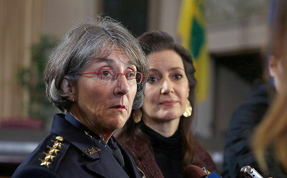 Mayor Libby Schaaf (right) and Anne E. Kirkpatrick (left) talk with press after she was sworn in as OaklandÕs permanent Chief of Police at an Oakland City Hall ceremony on Friday, February 27, 2017, in Oakland, Calif. Photo: Liz Hafalia, The Chronicle