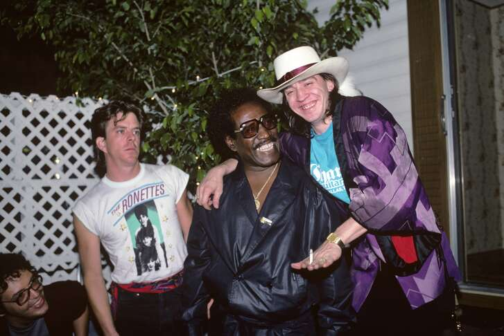 Johnny Copeland with Stevie Ray Vaughan and Double Trouble backstage at the Pier in New York City on August 10, 1985.