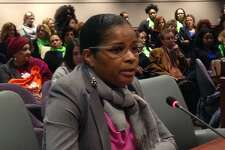 Aresta Johnson, interim superintendent of Bridgeport Public Schools testifies in Hartford on Tuesday.