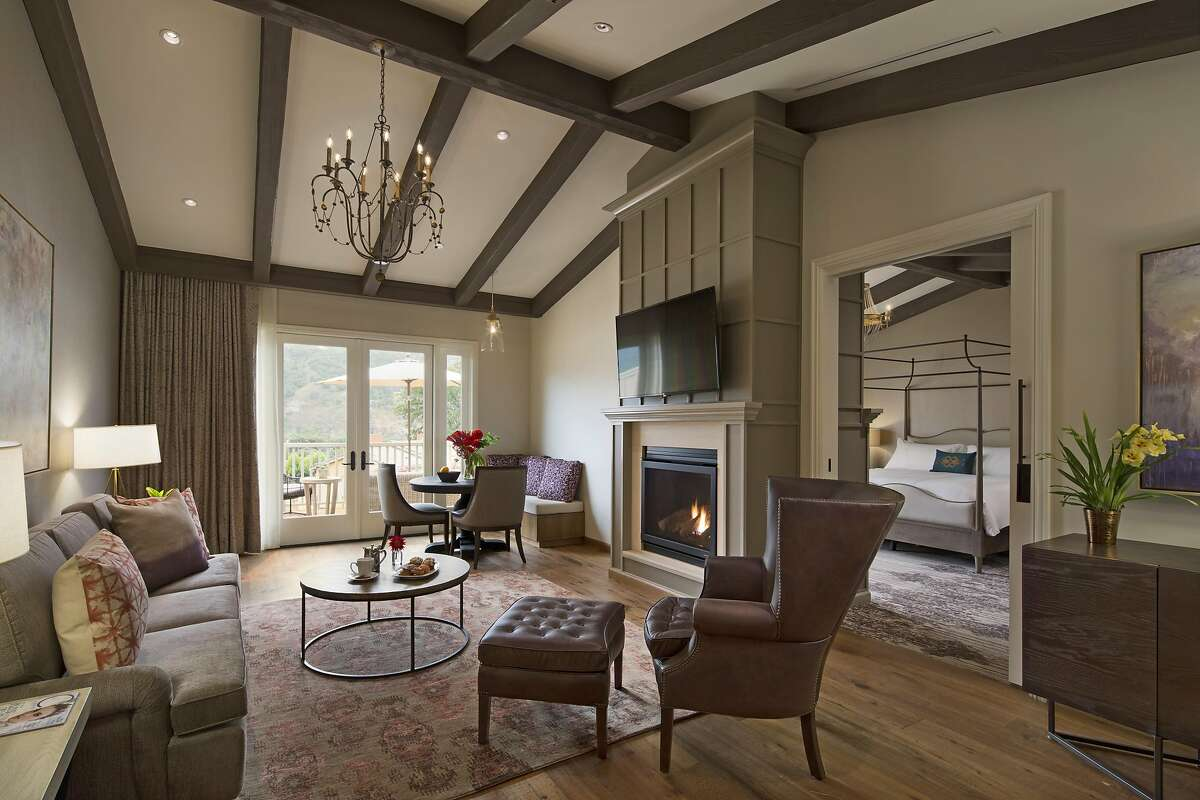 Living rooms and bedrooms in the new villa suites at Bernardus Lodge & Spa include gas fireplaces, high ceilings and plush, residential furnishings.