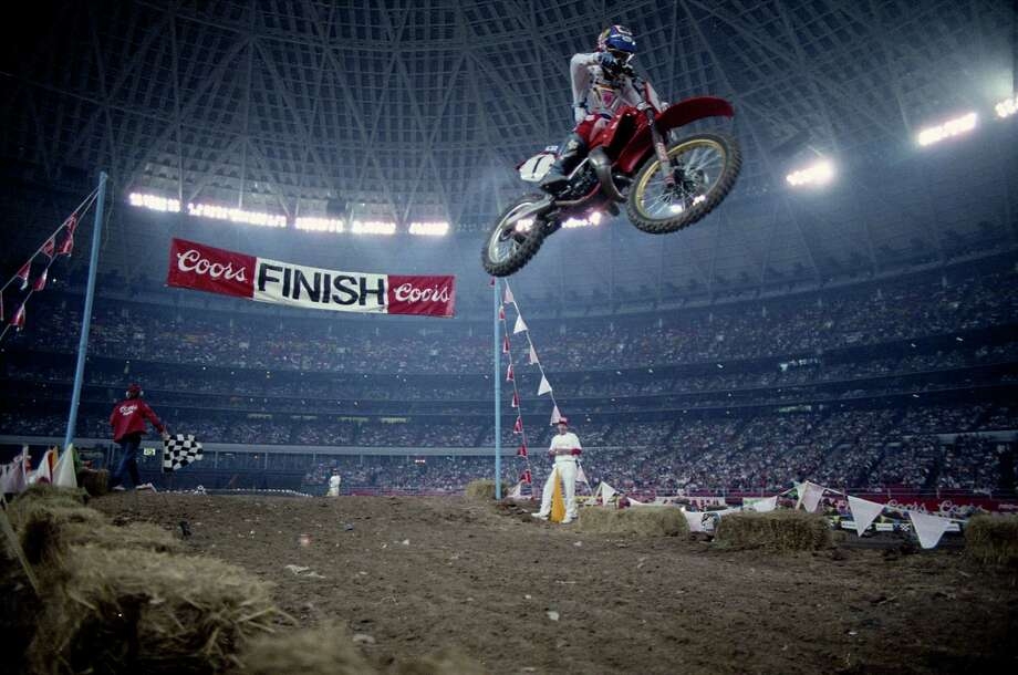 Coors Supercross motorcycle races at the Astrodome, Feb. 7, 1987. Photo: Steve Ueckert, Houston Chronicle