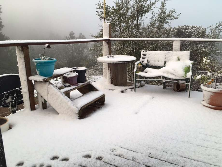 Snow fell at higher elevations of Big Sur on Feb. 26, 2017. Photo: Kate Novoa