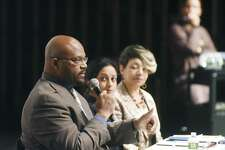 Boys & Girls Club of Greenwich CEO Bobby Walker Jr. speaks beside 2016 Democratic State Rep. nominee Dita Bhargava, center, and local civil rights activist Dorothy Nins speak during the diversity panel discussion at Greenwich High School in Greenwich, Conn. Monday, Feb. 27, 2017. Walker, Bhargava and Nins spoke on diversity to kick off GHS's 2017 Diversity Week.
