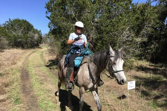 A competitor on the trail at the endurance horse race in Bandera.