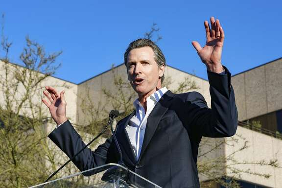 """California Lt. Gov. Gavin Newsom speaks at the UTA """"United Voices"""" Rally at United Talent Agency headquarters on Friday, Feb. 24, 2017, in Beverly Hills, Calif. As most of Hollywood gears up for the Oscars on Sunday and the whirlwind of events and parties this weekend, celebrities and top talent agents gathered in Beverly Hills Friday to do something to do something a little different: rally for immigration rights. (Photo by Willy Sanjuan/Invision/AP)"""