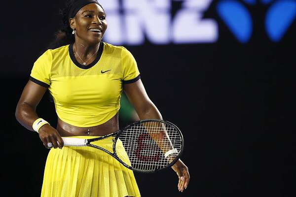 """FILE - In this Jan. 28, 2016, file photo, Serena Williams smiles during her semifinal match against Agnieszka Radwanska of Poland at the Australian Open tennis championships in Melbourne, Australia. Top-ranked Williams recounted Sunday, May 8, how she came to have a part in the Beyonce's video, """"Lemonade."""" (AP Photo/Rafiq Maqbool, File)"""