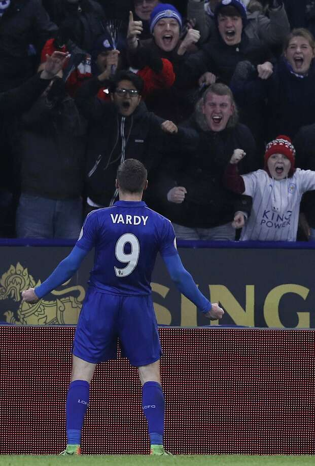 Jamie Vardy scored twice for the defending league champion Leicester. Photo: ADRIAN DENNIS, AFP/Getty Images