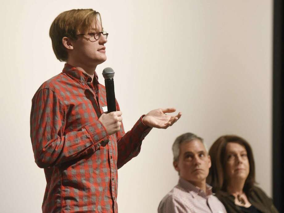 Jacob Griffith Gardner speaks beside fellow LGBT activists Bernie Kettle and Barbara Curry at the Stonewall Speakers presentation as part of Diversity Week at Greenwich High School in Greenwich, Conn. Monday, Feb. 27, 2017. Gardner, Kettle and Curry spoke about their lives in the LGBT community and paths to self-discovery and acceptance. Photo: Tyler Sizemore / Hearst Connecticut Media / Greenwich Time