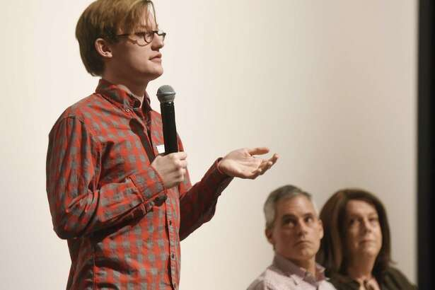 Jacob Griffith Gardner speaks beside fellow LGBT activists Bernie Kettle and Barbara Curry at the Stonewall Speakers presentation as part of Diversity Week at Greenwich High School in Greenwich, Conn. Monday, Feb. 27, 2017. Gardner, Kettle and Curry spoke about their lives in the LGBT community and paths to self-discovery and acceptance.