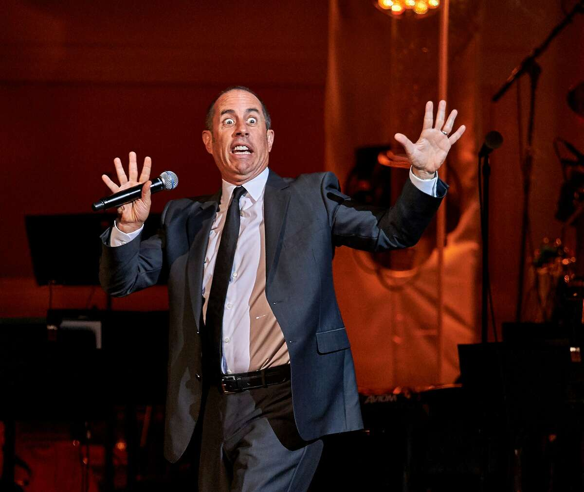Jerry Seinfeld performs at the David Lynch Foundation Benefit Concert at Carnegie Hall on Wednesday, Nov. 4, 2015, in New York. (Photo by Robert Altman /Invision/AP)