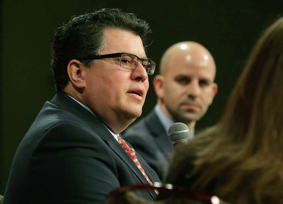 Secretary of State Rolando Pablos (left) has said he would provide publicly available information to the commission, including full names of registered voters, their dates of birth, addresses, voting status and voting history from 2006 forward. He has said he would protect private information. Photo: Bob Owen /San Antonio Express-News / ©2017 San Antonio Express-News