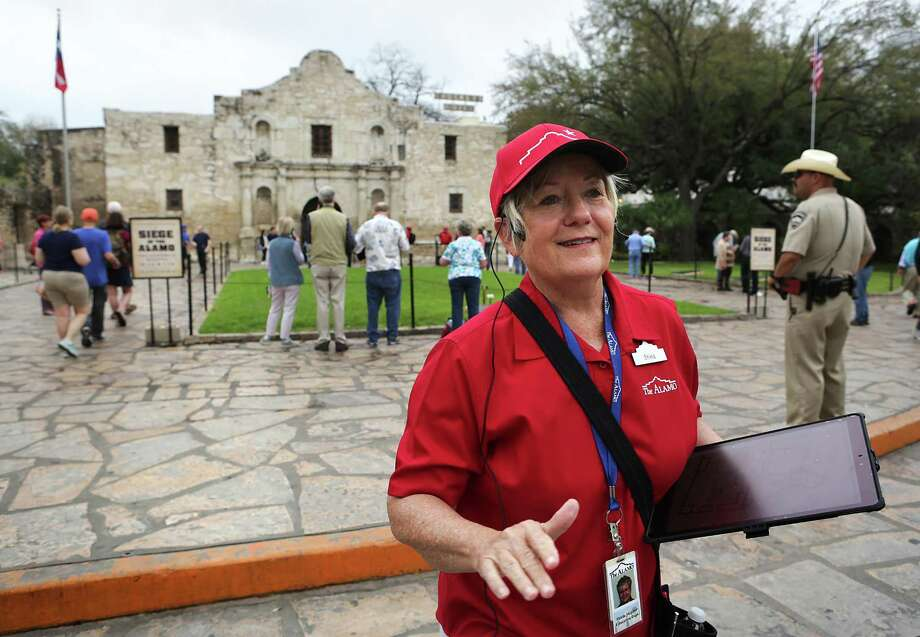 "Shiela Skipper, a tour guide at the Alamo, gives a tour to staff members using new equipment and training curriculum which will be put in place on March 4.  The Alamo will also open it's new exhibit, ""Bowie: Man-Knife-Legend"". Photo: Bob Owen, Staff / San Antonio Express-News / ©2017 San Antonio Express-News"
