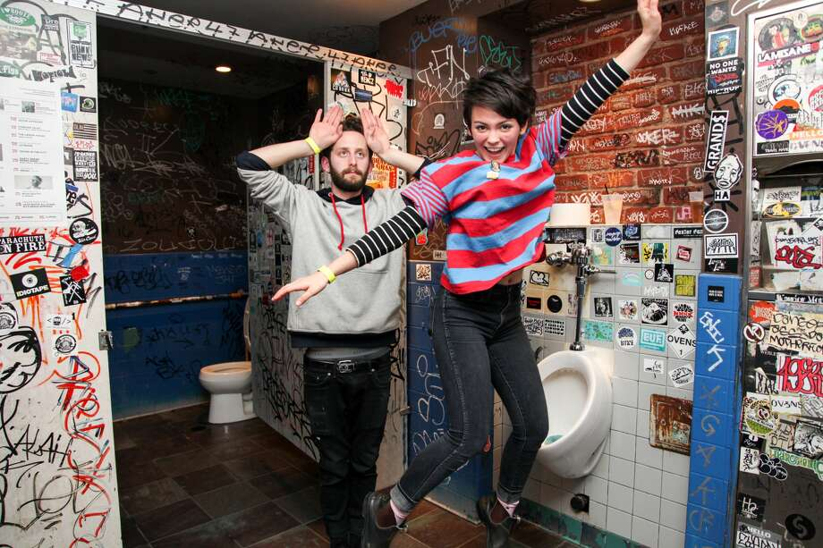 SAN FRANCISCO, CA - FEBRUARY 22: Noah Bowman and Alex Luciano of the indie pop duo Diet Cig pose for photos at Brick & Mortar Music Hall during the 25th annual Noise Pop Festival on February 22, 2017 in San Francisco, California. (Photo by Kelly Sullivan/Getty Images)