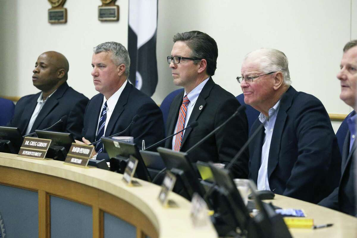 Members listen to speakers as the Schertz-Cibolo-Universal City board of trustees meets at the district headquarters on February 16, 2017.