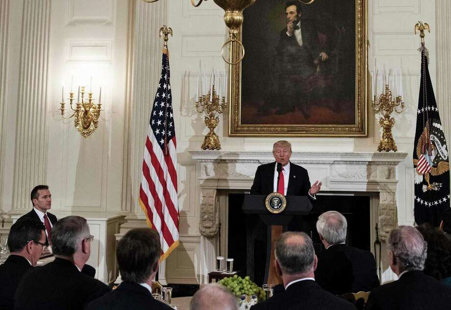 US President Donald Trump speaks to members of the National Governors Association and his administration before a meeting in the State Dining Room of the White House February 27, 2017 in Washington, DC. Photo: Brendan Smialowski / AFP/Getty Images / AFP or licensors