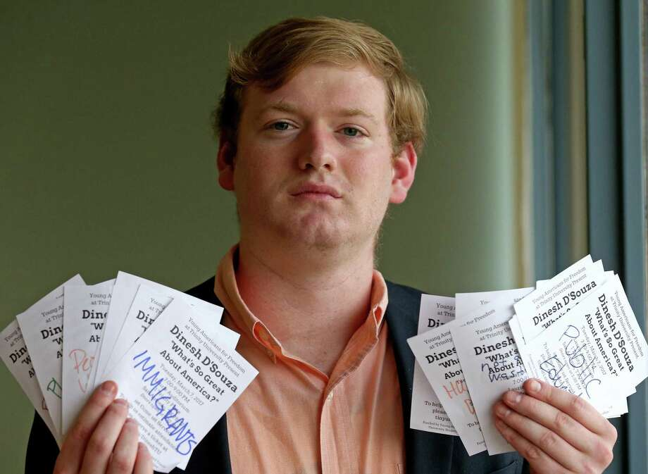 Portrait of Trinity University sophomore Jonah Wendt, 19 with vandalized fliers for a speech by Dinesh D'Souza, at the university Monday Feb. 27, 2017. Wendt is the field director and chief financial officer of Tigers for Liberty. Photo: Edward A. Ornelas, Staff / San Antonio Express-News / © 2017 San Antonio Express-News