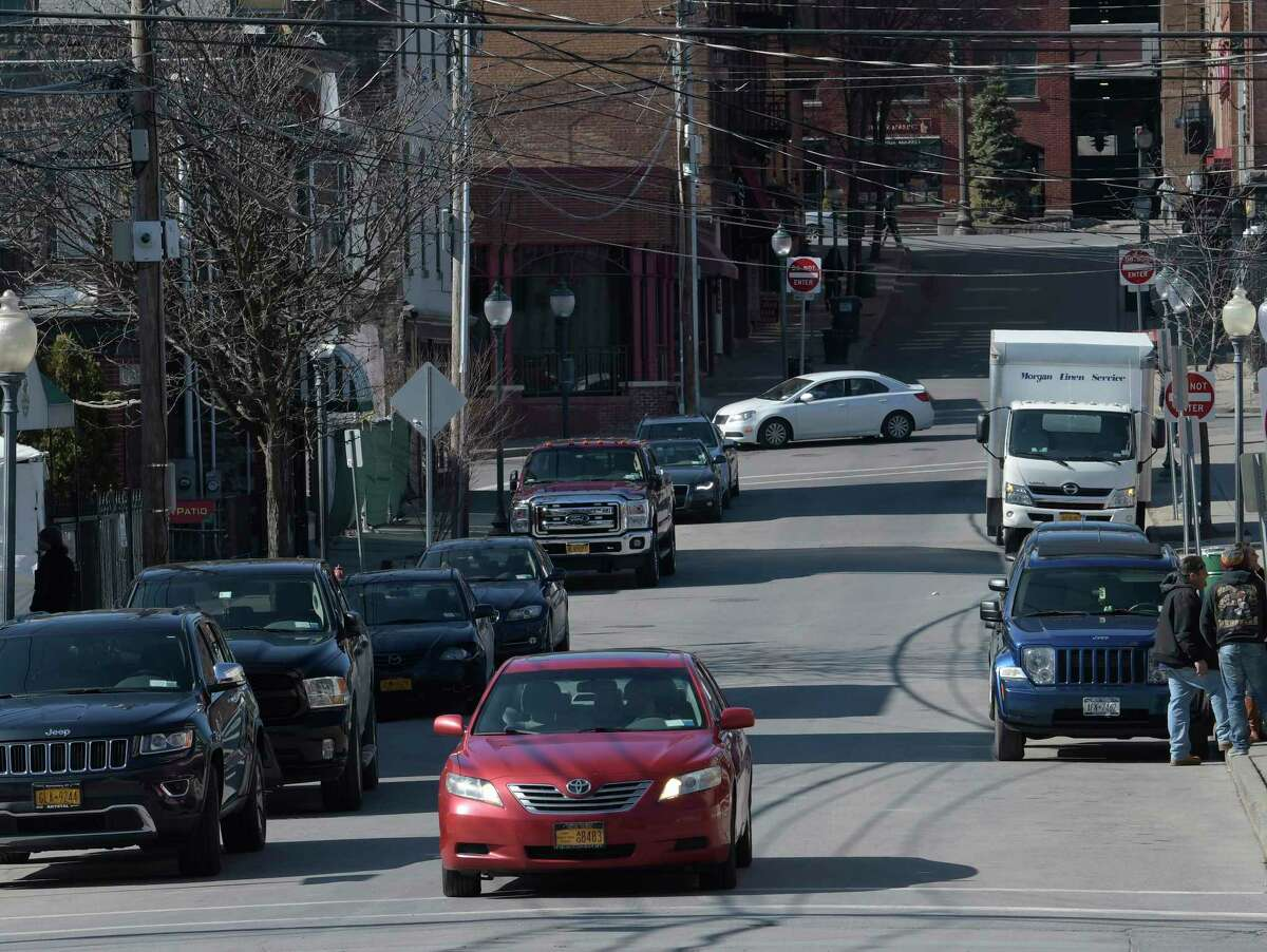 The view of Caroline Street from Henry Street looking west Monday Feb. 27, 2017 in Saratoga Springs, N.Y. Two men were injured in fights on Caroline Street Aug. 10 and Aug. 14, 2021. (Skip Dickstein/Times Union)