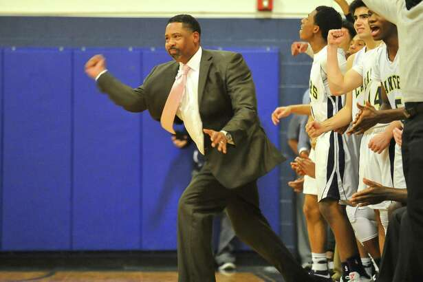 Head Coach Chris Watts of the Notre Dame Fairfield Lancers reacts during a game against Immaculate Mustangs at Notre Dame Fairfield High School on February 27, 2017 in Fairfield, Connecticut.
