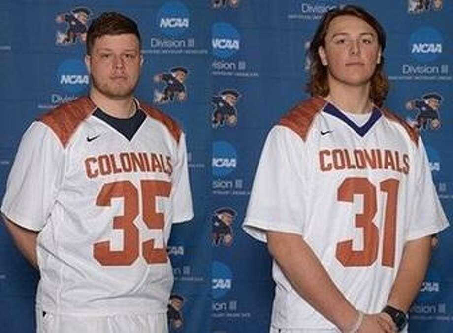 Western Connecticut State University men's lacrosse players John Foristall (35) and Eric Caldwell (31). Photo: Photo Courtesy Of WCSU Athletics / Photo Courtesy Of WCSU Athletics