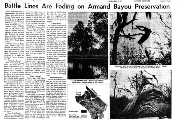 Houston Chronicle inside page - April 4, 1971 - section 4, page 5.  Battle Lines Are Fading on Armand Bayou Preservation.