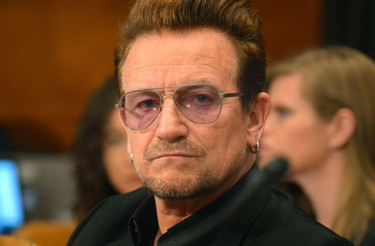 (FILES) This file photo taken on April 11, 2016 shows Bono, lead singer of the rock band U2 and humanitarian activist during a Senate Appropriations Subcommittee, in Washington, DC. U2 on January 9, 2017 announced a stadium tour of North America and Europe to mark 30 years since
