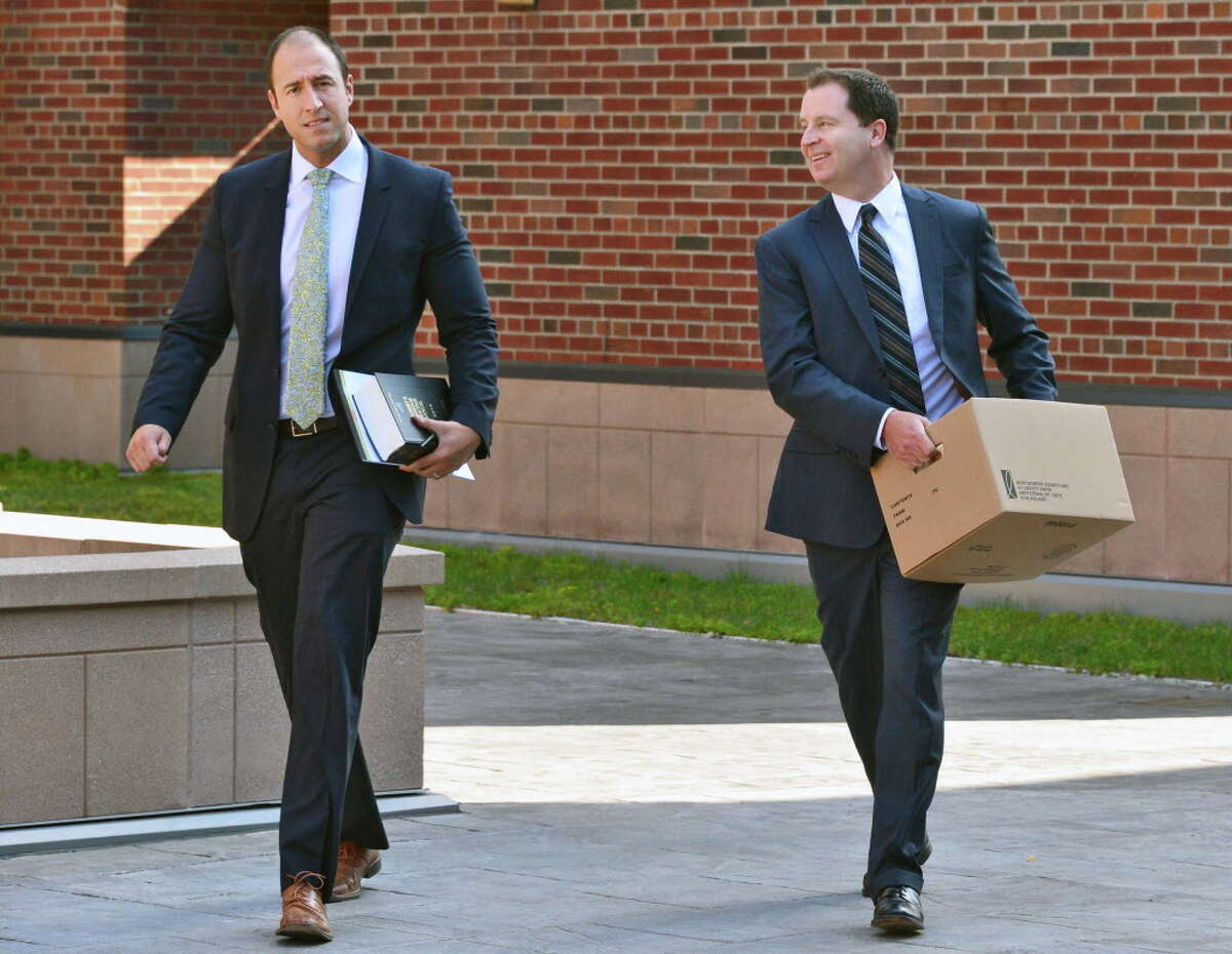 Saratoga County Assistant District Attorneys Patrick Campion, left, and Jim Davis make their way to a hearing for Dennis Drue, the man charged with causing the death of two Shen High school students on the Northway, at the Saratoga County Courthouse Friday Aug. 16, 2013, in Ballston Spa, NY. (John Carl D'Annibale / Times Union)