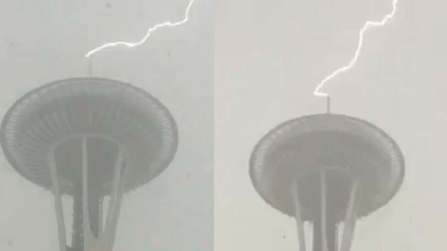 Lighting struck the Space Needle twice during a storm Monday, February 28, 2017. Photo: Space Needle Via KOMO News