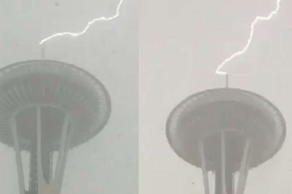 Lighting struck the Space Needle twice during a storm Monday, February 28, 2017.