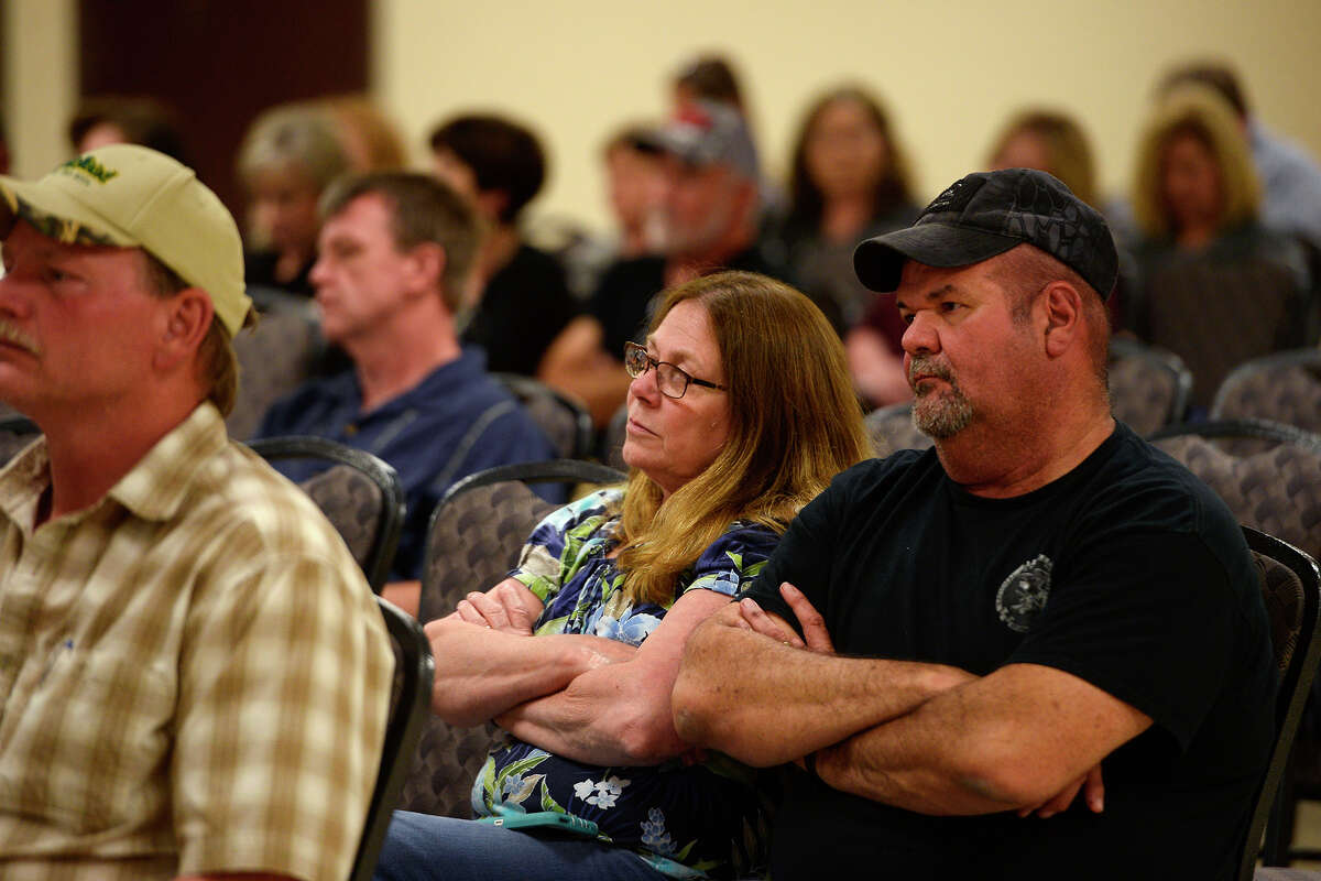 Citizens listen during a town hall meeting Monday evening onOrange County's$3.175 million settlement in the death of Robert Montano, who died in the Orange County jail in 2011. Photo taken Monday 2/27/17 Ryan Pelham/The Enterprise