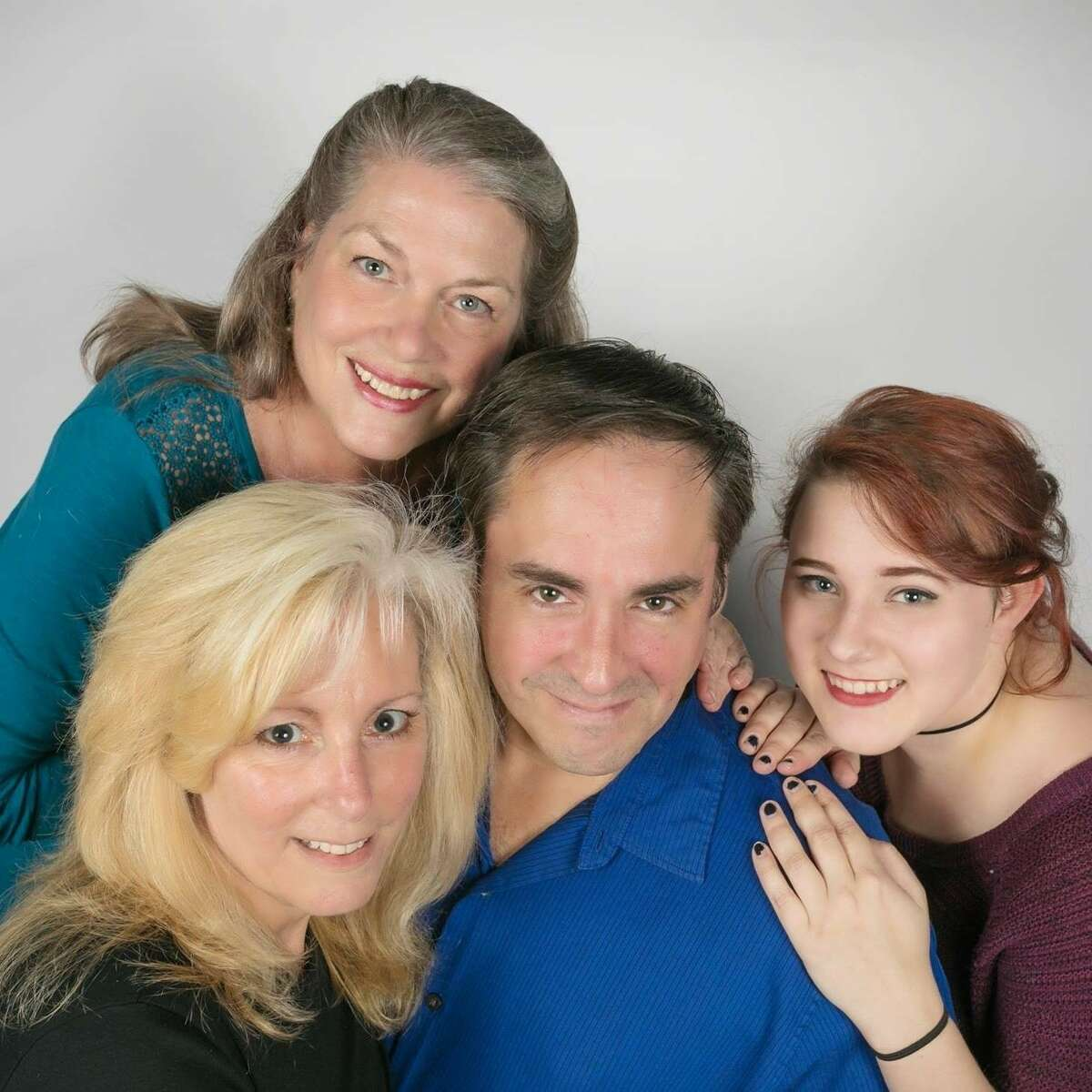 """In Clear Creek Community Theatre's production of Neil Simonscomedy """"Last of the Red Hot Lovers,"""" a timid married man, played by Jeff Merriman of Pearland, is tempted to stray by three very different women, played by Jean Ciampi of League City, left, Caroline McDonald of San Leon and Sara Denton of Sugar Land."""