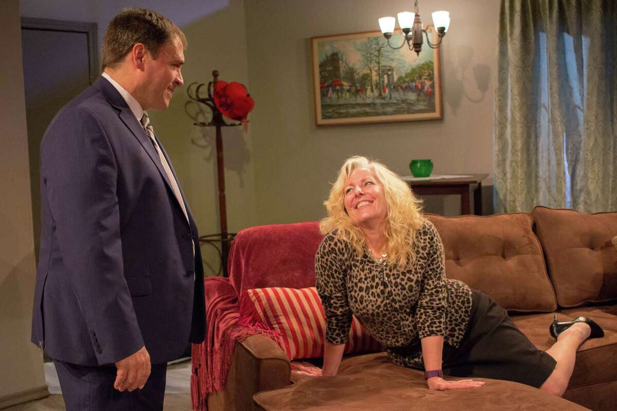 """Jeff Merriman portrays a man in over his head with a temptress played by Caroline McDonald in Clear Creek Community Theatre's production of """"Last of the Red Hot Lovers."""""""