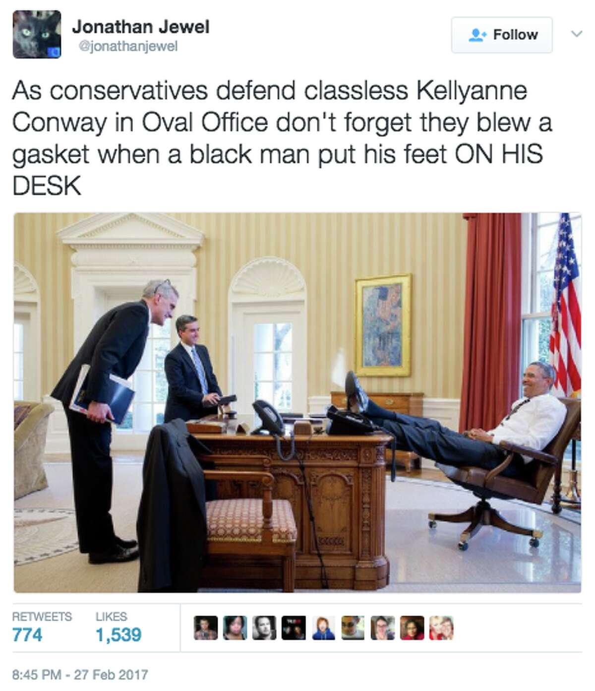 A photo of White House Adviser Kellyanne Conway sitting in a casual position on an Oval Office couch was quickly turned into a meme.