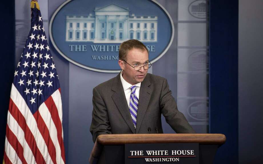 Mick Mulvaney, the director of the Office of Management and Budget, briefs reporters on President Donald Trump's proposed budget, at the White House in Washington, Feb. 27, 2017. The president is planning a budget that prioritizes the military and other public safety requirements, with cuts to most federal agencies. (Stephen Crowley/The New York Times) Photo: STEPHEN CROWLEY, STF / NYT / NYTNS
