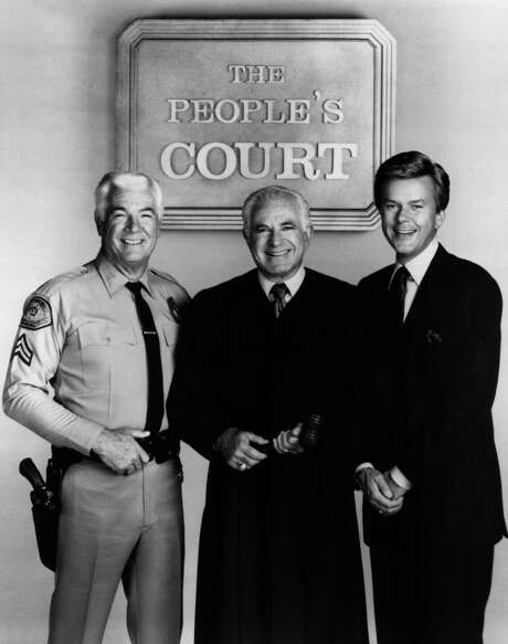 """The People's Court"" cast, Rusty the bailiff, Judge Joseph Wapner and Doug Llewelyn. Photo: Contributed / The People's Court"