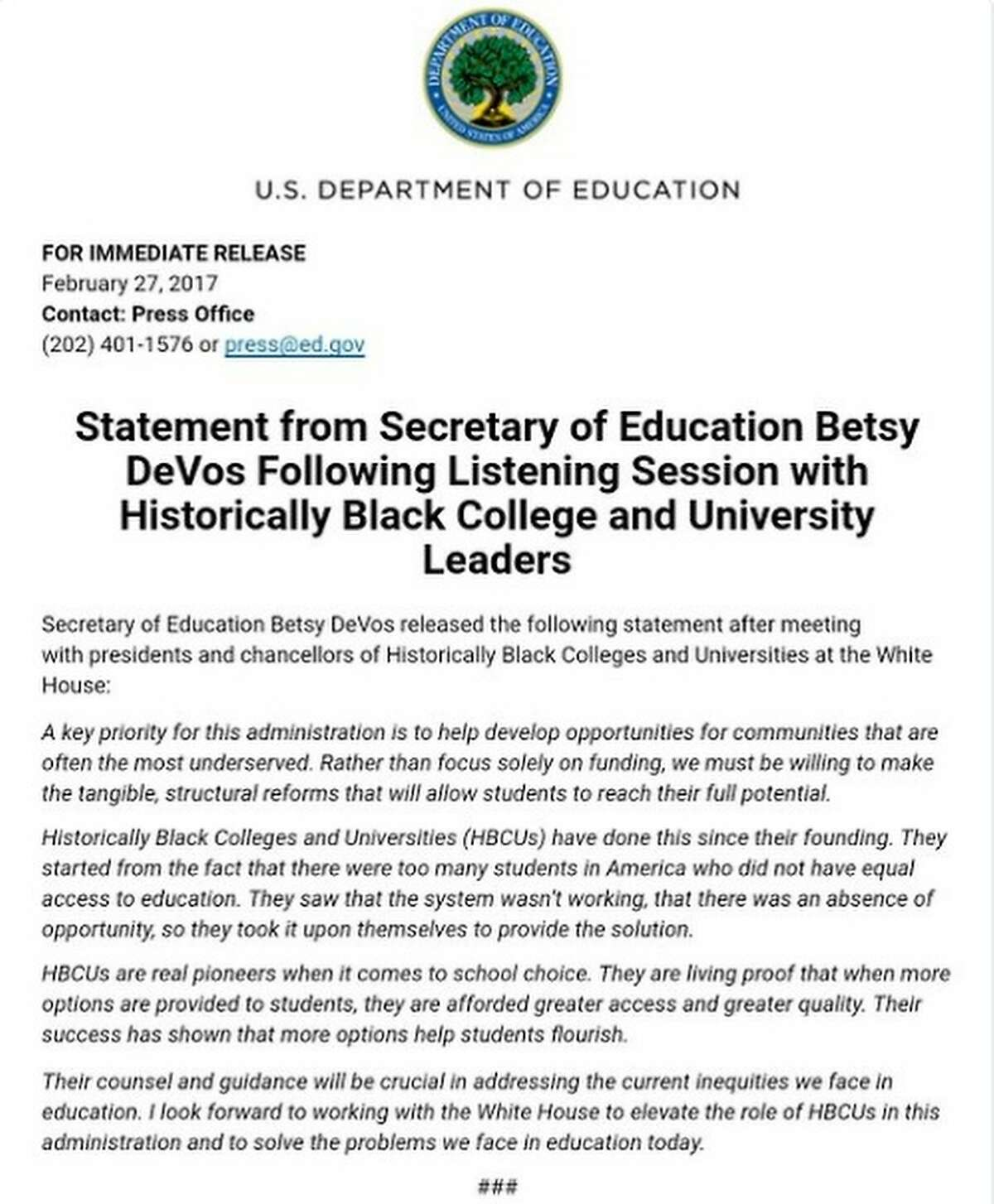 Betsy DeVos' press release regarding HBCUs. NEXT: Ranking HBCUs by starting salaries of graduates.