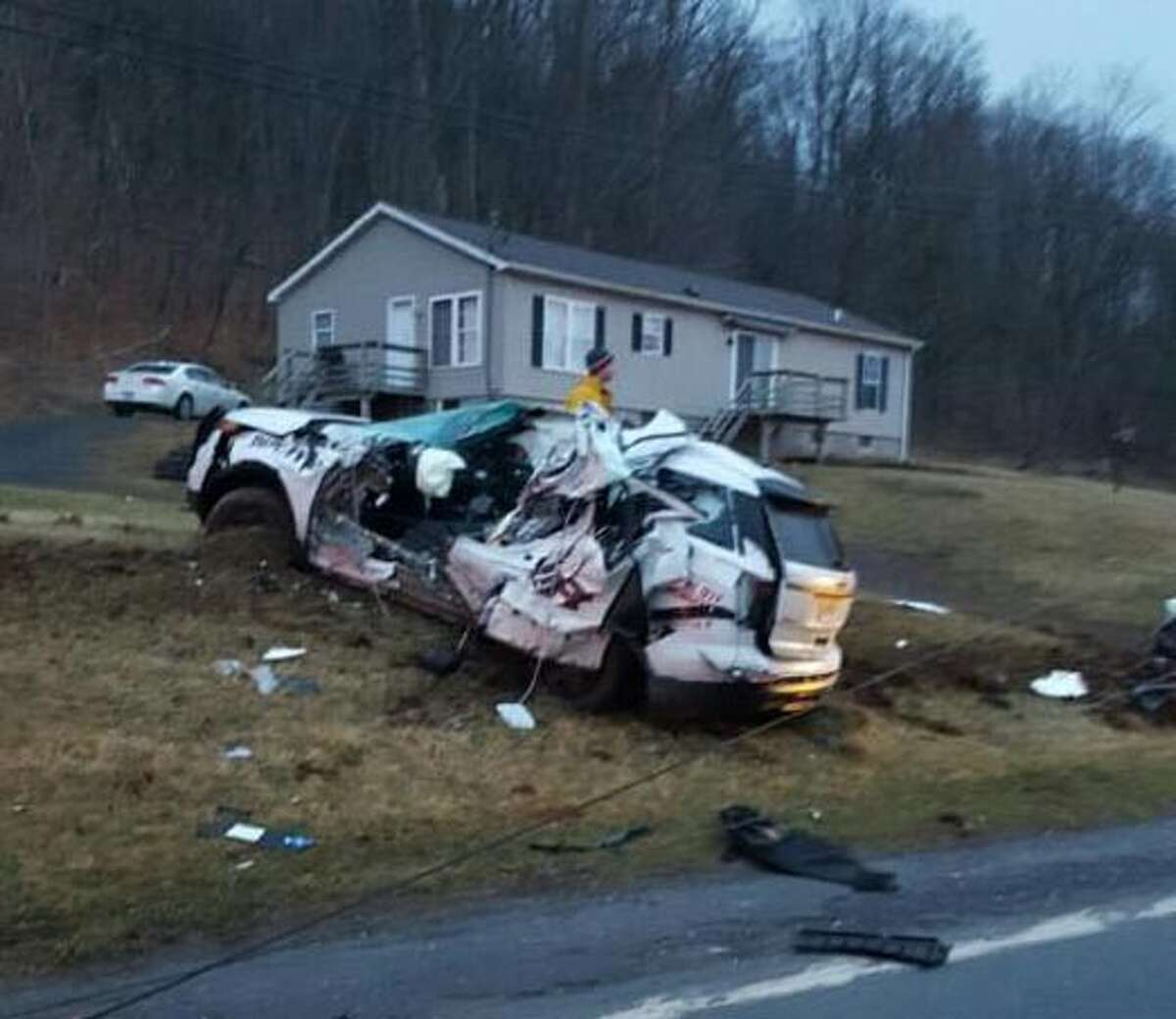 A Greene County sheriff's deputy died in a one-vehicle crash Tuesday morning on Route 23. (Special to the Times Union)