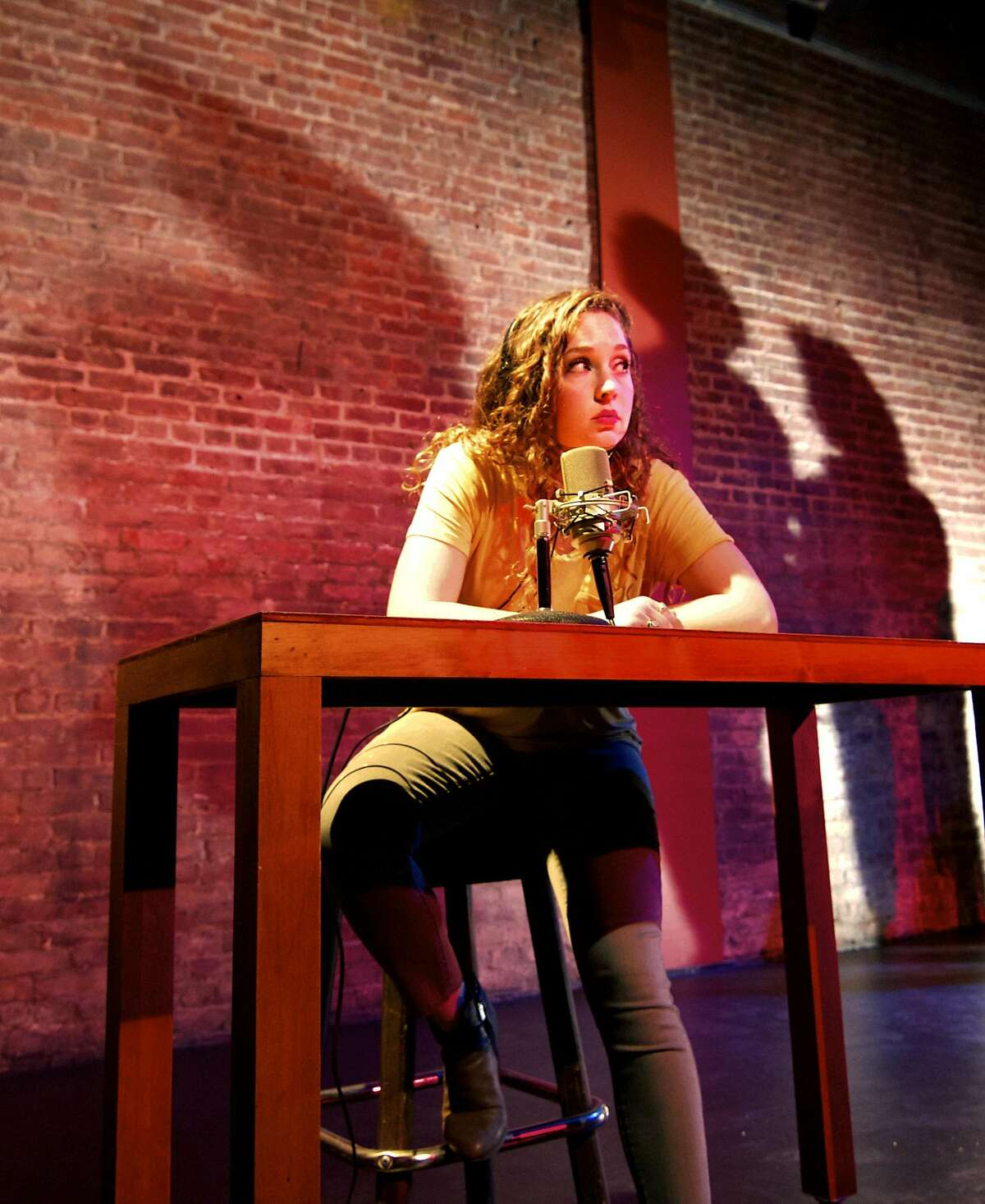 """The line between reality and fantasy blurs in the mind of Alexis Jones (Sarah Brazier) as she seeks to solve the mysterious death of 1960s journalist Dorothy Kilgallen in Exit Theatre's """"Kilgallen/Jones."""""""