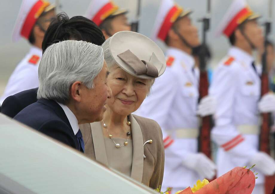 Japan's Emperor Akihito and Empress Michiko arrive at Noi Bai airport in Hanoi on a goodwill visit. They will meet with the abandoned wives of former Japanese soldiers from World War II. Photo: Hau Dinh, Associated Press
