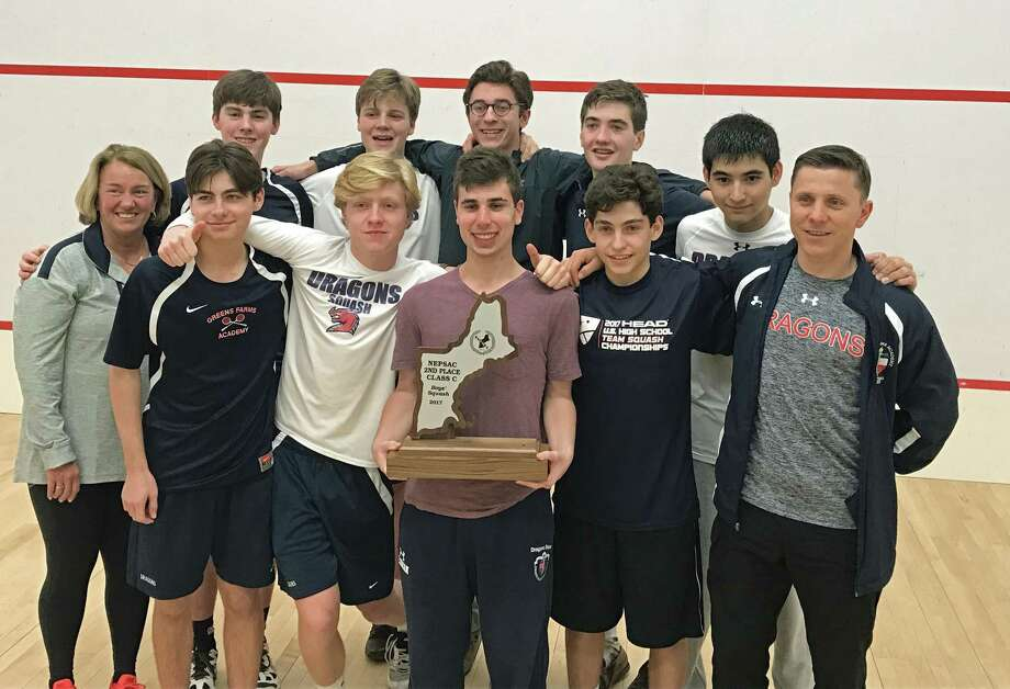 The GFA boys squash team, top row from left: Jeb Rooney, Marshall Bessey, Robbie Marcus, Andy McIlvaine, John Selkowitz. Front row from left, GFA Athletic Director Tauni Butterfield, Piero Panariello (Westport), Jack Soper, Duda Voldman, Giani Panariello (Westort), and Head Coach Attilah Agh celebrate their second-place victory at New Englands on Saturday, Feb. 25. They finished just one point behind the first place team, Portsmouth Abbey. Photo: Contributed / Westport News Contributed