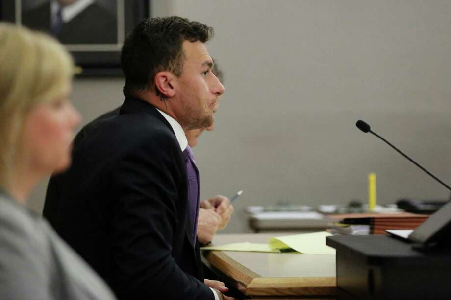 Former Texas A&M quarterback Johnny Manziel listens during a hearing with judge Roberto Canas in Dallas County criminal court 10 at the Frank Crowley Courts Building in Dallas February 28, 2017. Manziel is in a hearing following an agreement reached with the county regarding his misdemeanor domestic violence case. (Andy Jacobsohn/The Dallas Morning News via Pool) Photo: Andy Jacobsohn, Staff Photographer / The Dallas Morning News