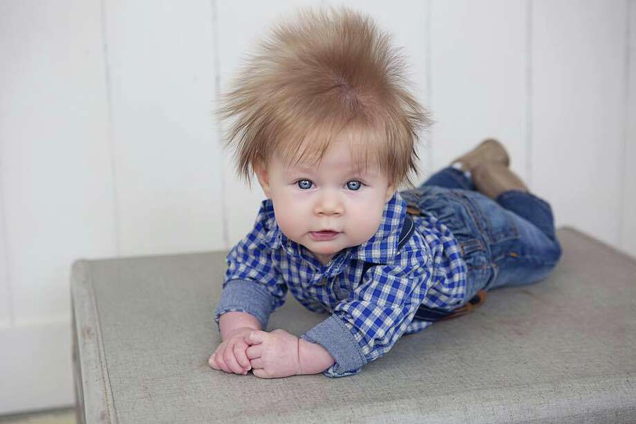 Oliver Dunn at three months old with a fabulous pouf of hair during a photo shoot with Lisa Peterson Photography Photo: Lisa Peterson Photography