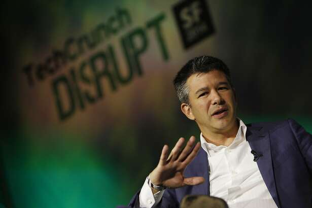 Travis Kalanick, Uber co-founder and CEO and Michael Arrington TechCrunch founder (not shown)  talk during a fireside chat at TechCrunch Disrupt SF on Monday, September 8,  2014 in San Francisco, Calif.