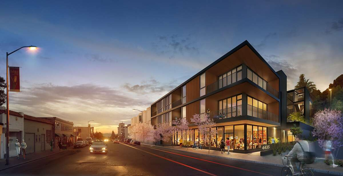 A rendering of The Amador, a complex now under construction that will have 25 units above a large ground-floor retail space on the 4400 block of Piedmont Avenue in Oakland near Chapel of the Chimes. The architect is San Francisco firm Jones Haydu.