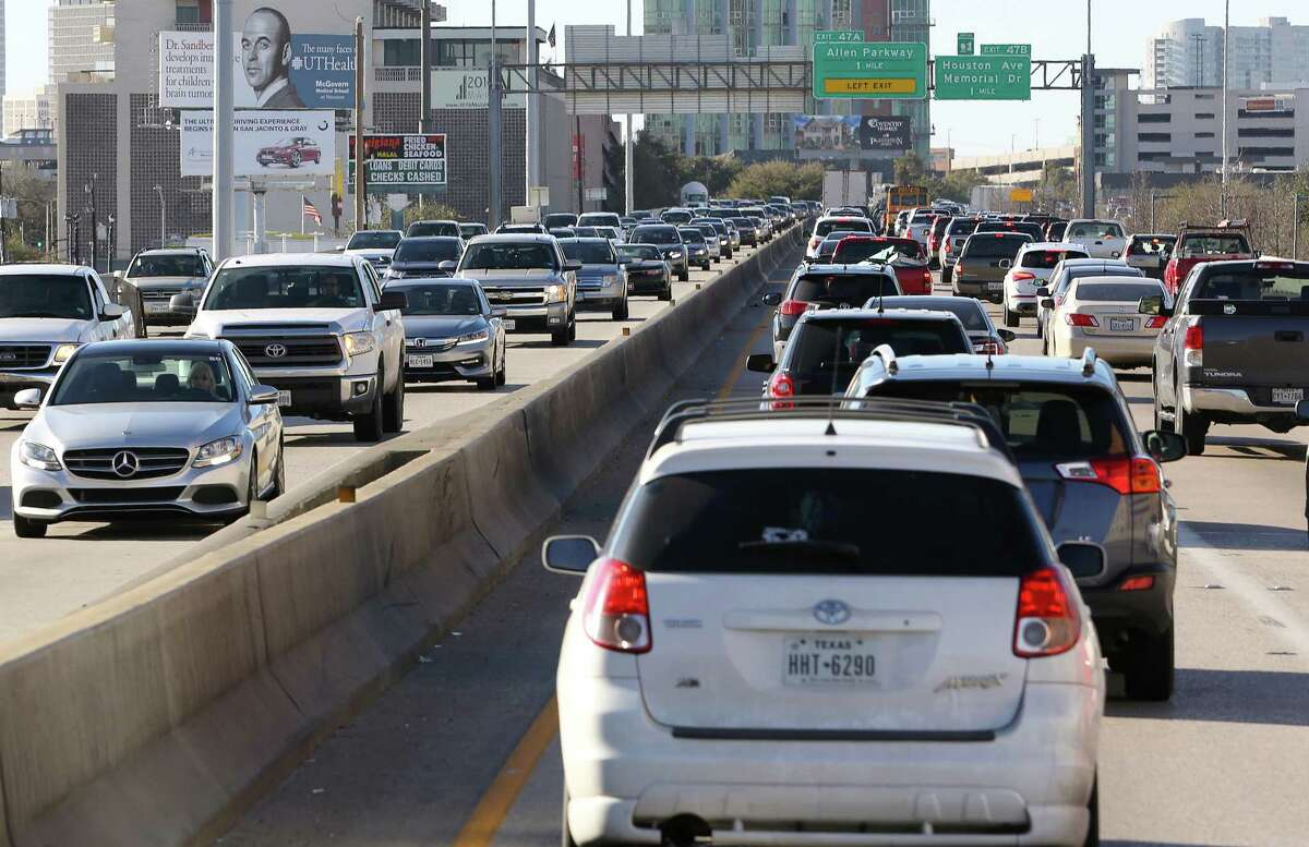 Traffic on Interstate 45 inches along during the evening rush hour on Feb. 23.